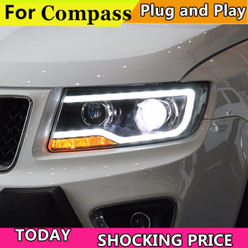 Car Styling Headlights for JEEP Compass 2011-2015 LED Headlight for Compass Head Lamp LED Daytime Running Light Bi-Xenon HID