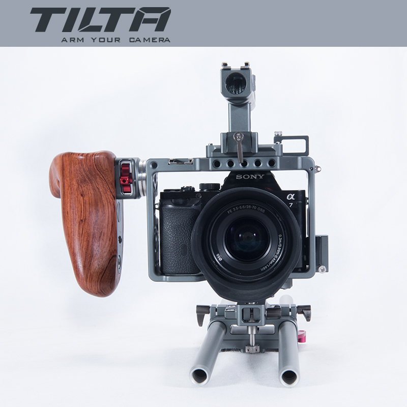 DIGITALFOTO-Tilta-A7-professional-DSLR-camera-Rig-Cage-with-Baseplate-Wooden-Handle-Top-Handle-For-SONY (3)