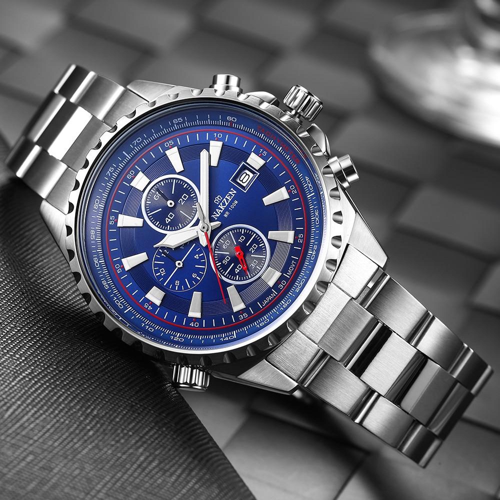 NAKZEN Business Blue Men Wirst Watch Sport Zegarki kwarcowe ze stali - Męskie zegarki - Zdjęcie 2