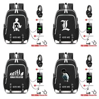 anime Death Note L Backpack USB Charge Headphone Jack Laptop Bags Teens School book bag Multifunction Travel Bags 13 style