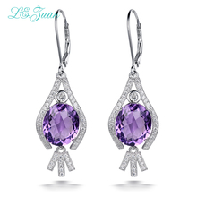 L&zuan 9.15ct Natural Amethyst Drop Earrings 100% 925 Sterling Silver Jewelry Cluster Gemstone Luxury Earrings For Women