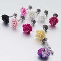 1 pieza 16G 1,2mm anillos de acero inoxidable Labret Rosa flor Tragus pendiente labio anillo pendientes Piercing cuerpo joyería