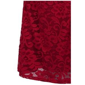 Image 4 - מלאך אופנת נשים של חלוק דה soiree סירה צוואר קפל תחרה ואגלי פיצול בת ים ארוך אדום המפלגה שמלת 425 200