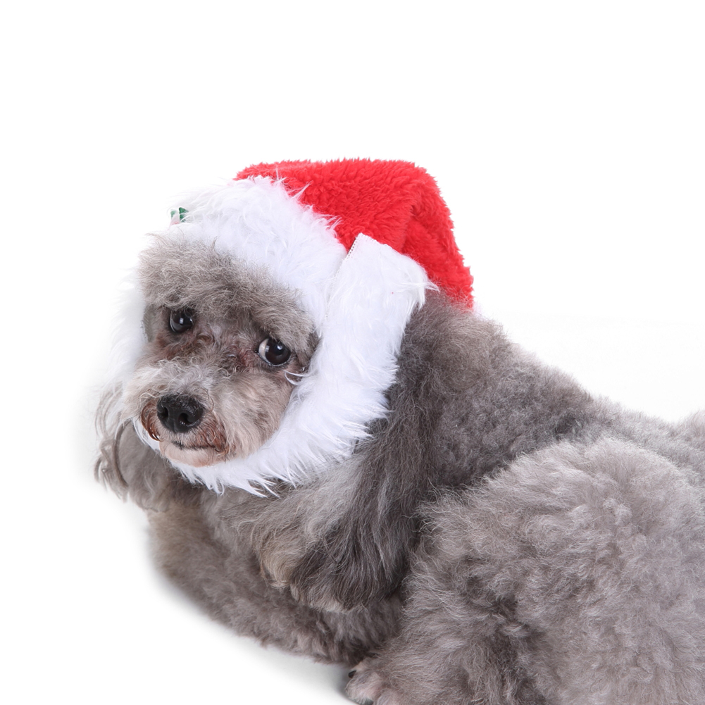 24d42d7d495f4 TINGHAO Lovely Pet Puppy Cat Christmas Hat Santa Beard Cap Dog Xmas Dress  up Costume -in Dog Caps from Home   Garden on Aliexpress.com