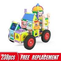 DIY 238pcs Magnetic Blocks Car Set Educational Construction Building Blocks Magnet Bars Metal Balls Toys For