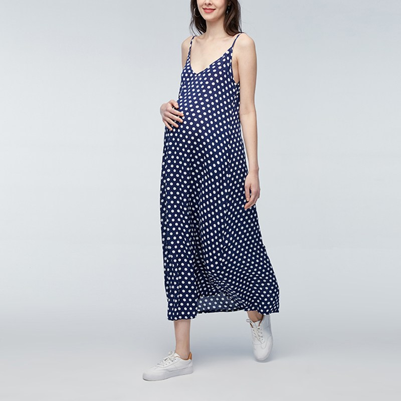 2018 Sexy Sleeveless Pregnancy Clothings Vestidos Pregnant Women Sleeveless Maxi Long Dot Dress Formal Maternity Dresses