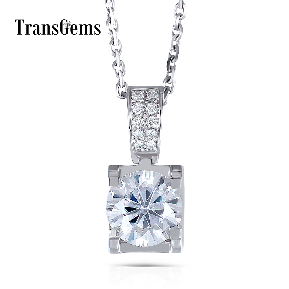 Transgems 14K White Gold 1.04CTW 6.5mm F Color Near Colorless Moissanite Pendant Necklace with Accents for Women Free Shipping