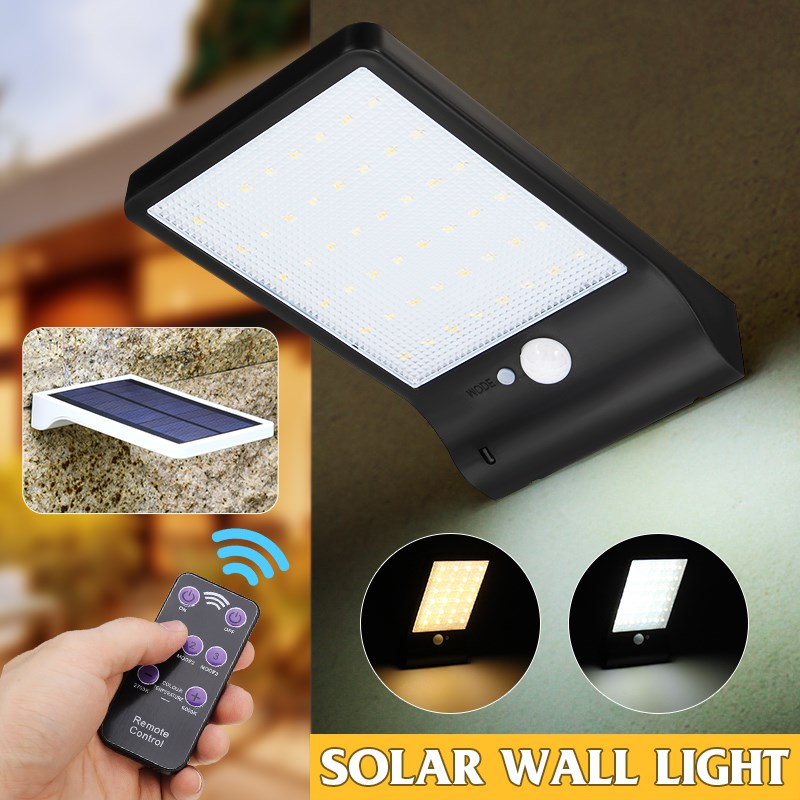 Mising 48 leds Solar Light Color Adjustable With Controller Three Modes Waterproof Lamp Lights For Outdoor Garden Wall Street