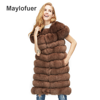 Maylofuer NEW new natural fox fur long vest real fox fur gilet winter high quality women fox