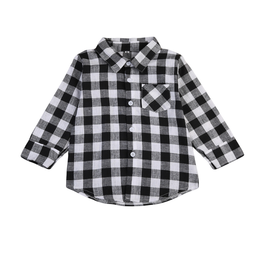 Baby Kids Blusas Boy Girl Long Sleeve Plaid T-shirt Blusa Black Check Tops Blouse Casual Pocket Blouse Long Shirts Clothes plus pearl beaded bell sleeve blouse