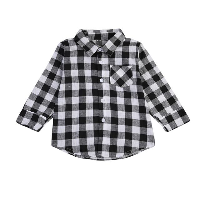 1e4f9c0d6 Baby Kids Blusas Boy Girl Long Sleeve Plaid T-shirt Blusa Black Check Tops  Blouse Casual Pocket Blouse Long Shirts Clothes