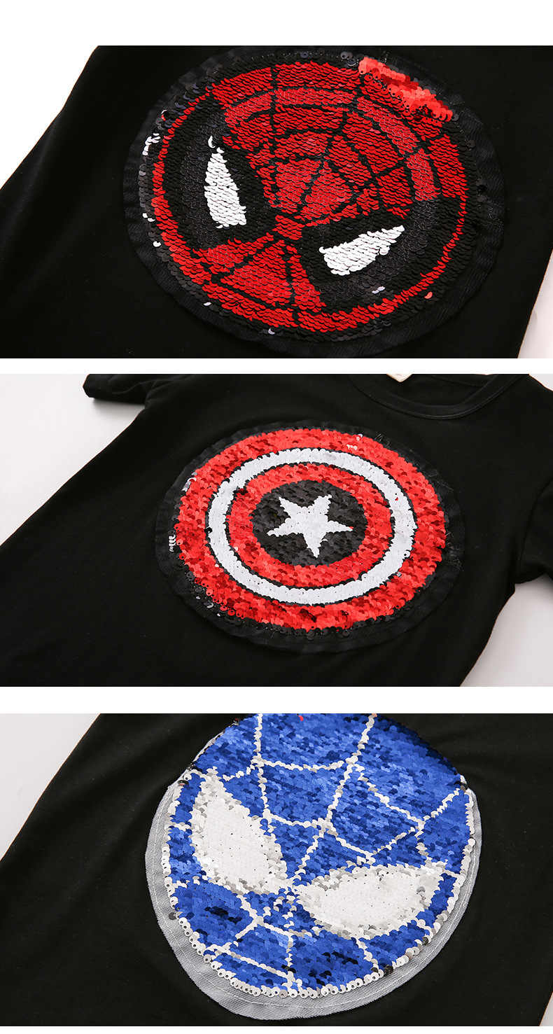 13e5ffb4 ... Kawaii Change color Sequins Discoloration Spiderman Captain America Cotton  Summer Tshirts for Children girl boys