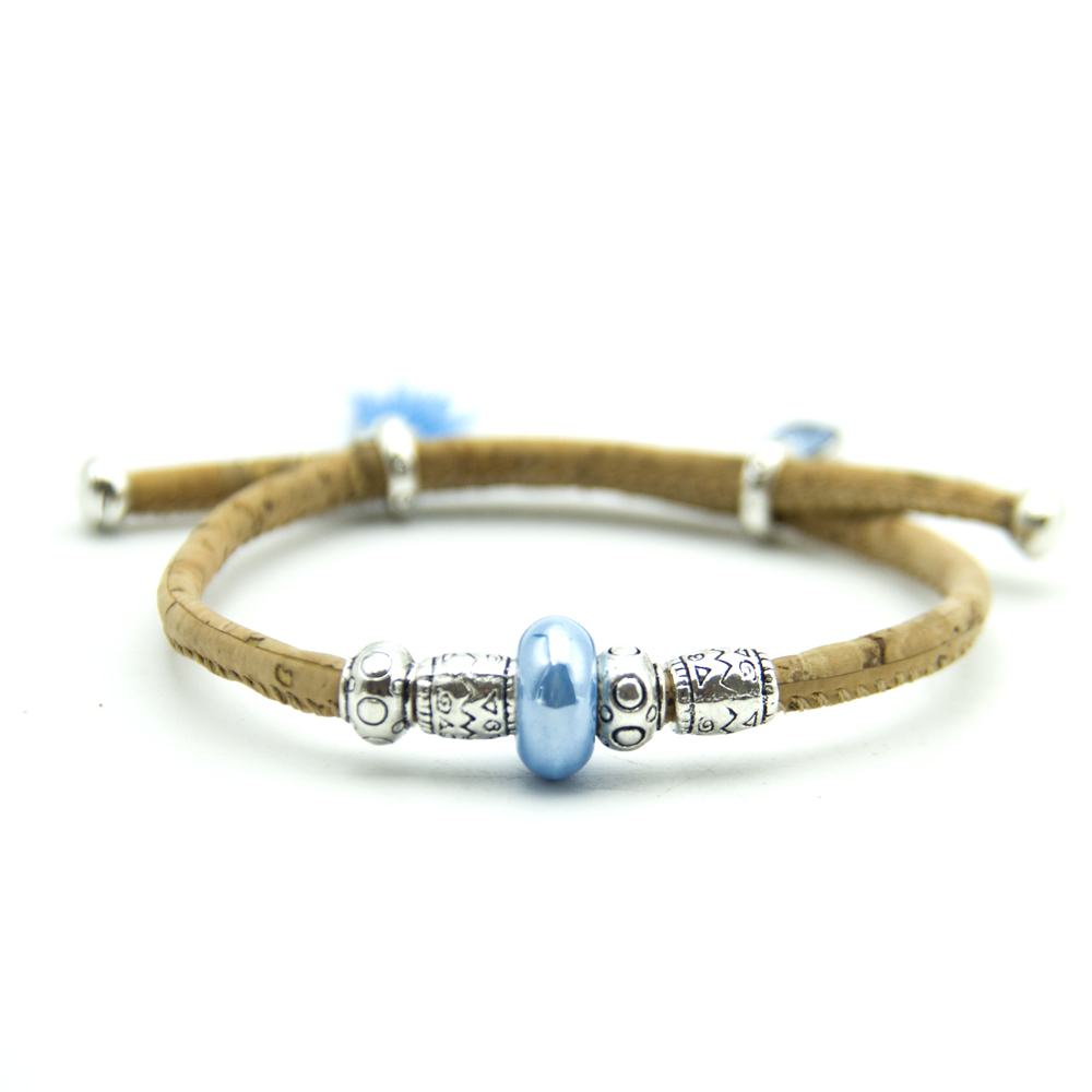 natural cork with Round colored magnetic beads women bracelet natural handmade Original pulsera jewelry BR-300