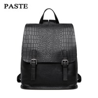 PASTE Female Shopping Backpack Famous Brands Crocodile Alligator Backpack Genuine Cowhide Leather Women Backpack Bags For