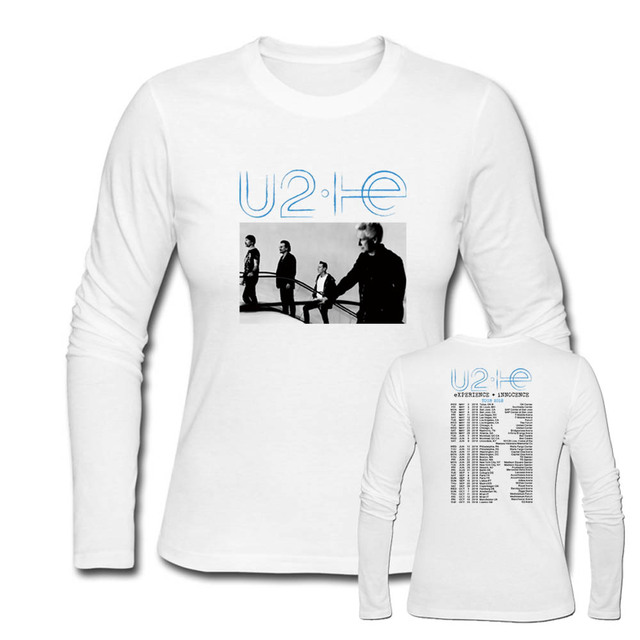 Women's Rock Long Sleeve T Shirt U2 eXperience Innocence 2018 Wourld Tour T- Shirts female