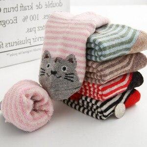 Image 3 - Calcetines de algodón para niños, calcetín con gato Animal, lana gruesa, a rayas, cortos, creativos, suaves y cálidos, para invierno, 2019