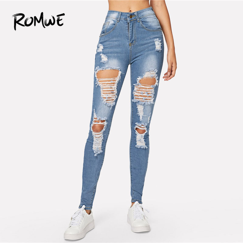 ROMWE Blue Ripped Bleach Wash Skinny Jeans Back Hole Spring Women Casual Button Fly Mid Waist Denim Pants Fashion Long Trousers