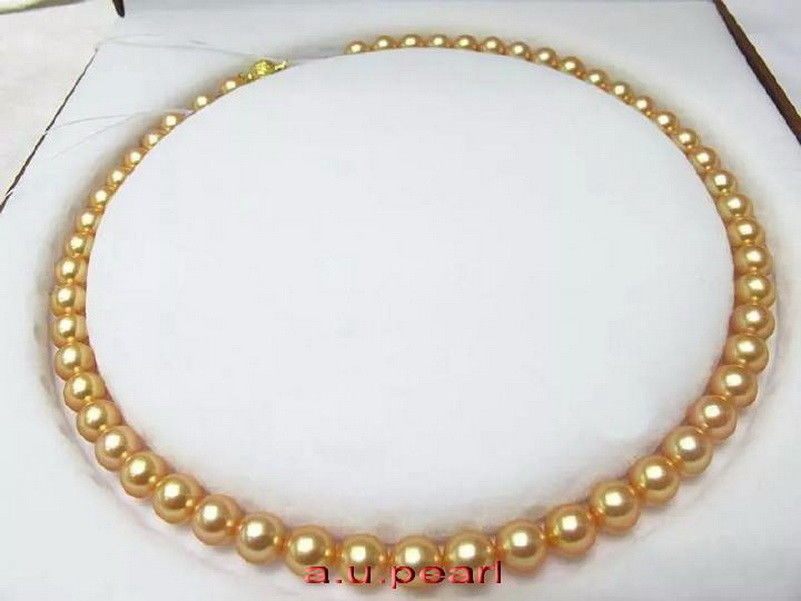 AAAAA 189-10mm NATURAL REAL round south sea golden pearl necklace Free shippingAAAAA 189-10mm NATURAL REAL round south sea golden pearl necklace Free shipping