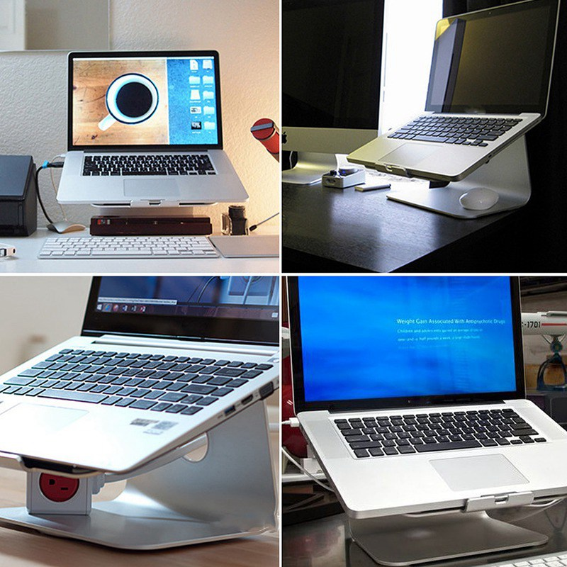 все цены на  Silver Metal Notebook Laptops Stand Desktop Holder For MacBook Air For Macbook Pro New Laptop Holder Cooling pad For Notebook  онлайн