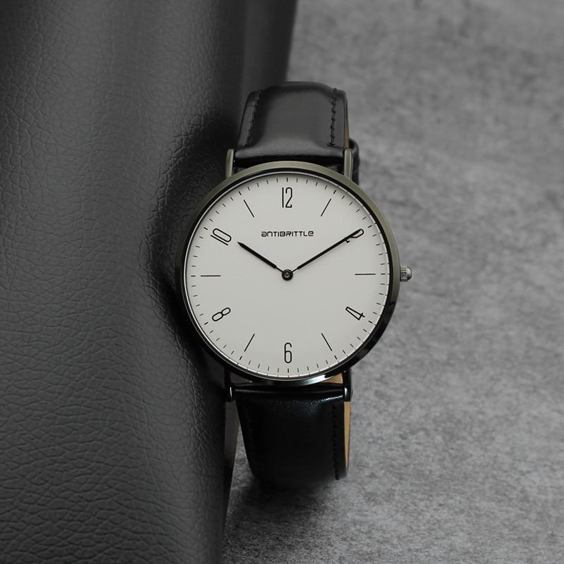 Luksusowe zegarki kwarcowe damskie Super cienkie czarne skórzane - Zegarki damskie - Zdjęcie 4