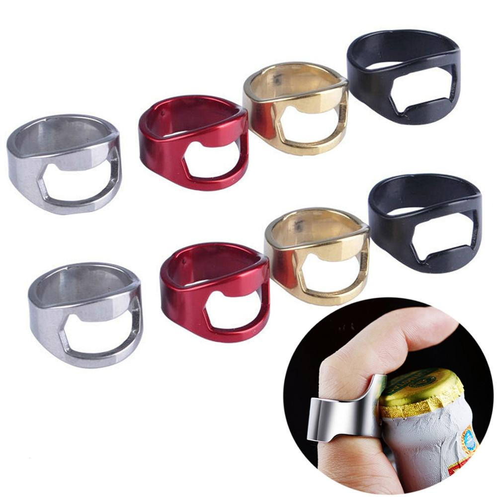 New Arrival 22mm Unique Creative Versatile Stainless Steel Colorful Finger Ring Ring-Shape Beer Bottle Opener Kitchen Bar Tools