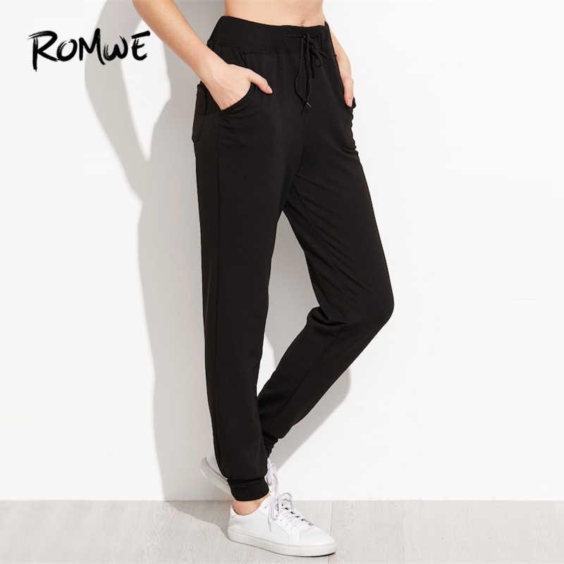 fdb393504cca85 ... ROMWE Black Heart Print Drawstring Waist Pants Female Casual Autumn  Plain Sweatpants Women Sporty Tapered Carrot ...
