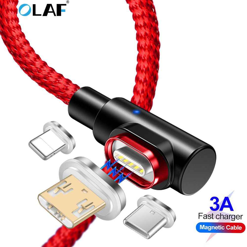 OLAF 90 Gradi 3A USB Magnetico Cavo Micro USB Tipo di Cavo C per il iphone XR X 7 Samsung Xiaomi Huawei veloce Cavo di Ricarica Magnetico