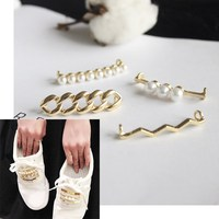 1 pièce décoration de lacets, blanc perle chaussure accessoires, chaussures femmes accessoire décoratif, belle belle brillant pince perles