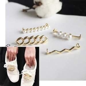 Decorative-Accessory Clip Shoes Shoelaces-Decoration Pearl Beautiful White Women Shiny