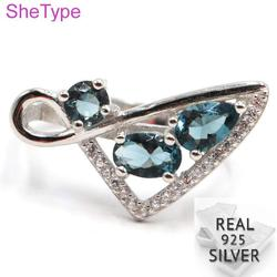 Кольцо из серебра 3,56 пробы с синим топазом, 23 х12 мм