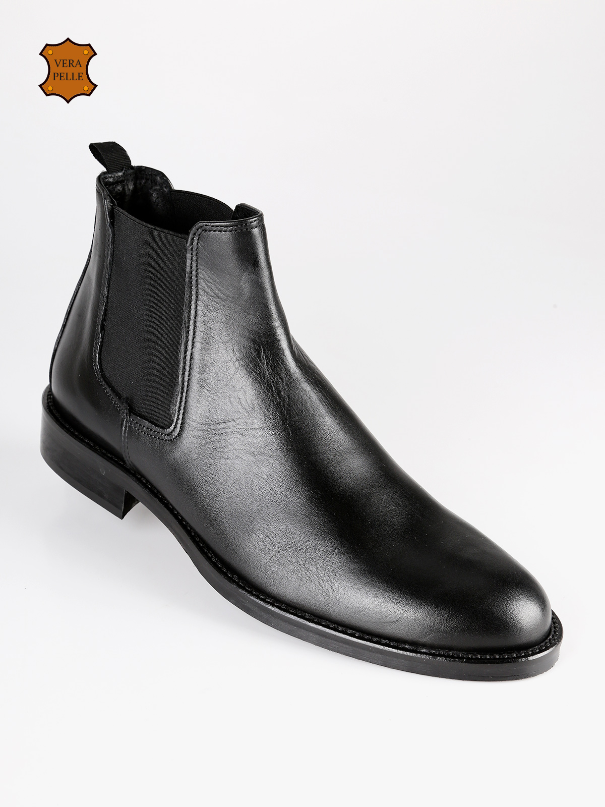 TUSICHEVALI Ankle Boot Chelsea Leather Black