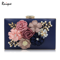 Ruique Women Luxury Evening Bags Girls Wedding Party Pearl Flower Bride Handbag Ladies Hard Box Crossbody Bag Clutch Chain Bags