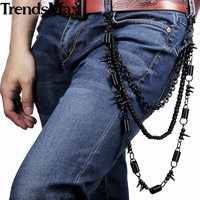 Mens Black Tone Pants Chain 3 Lines Rolo Motorcycle Jean PC06