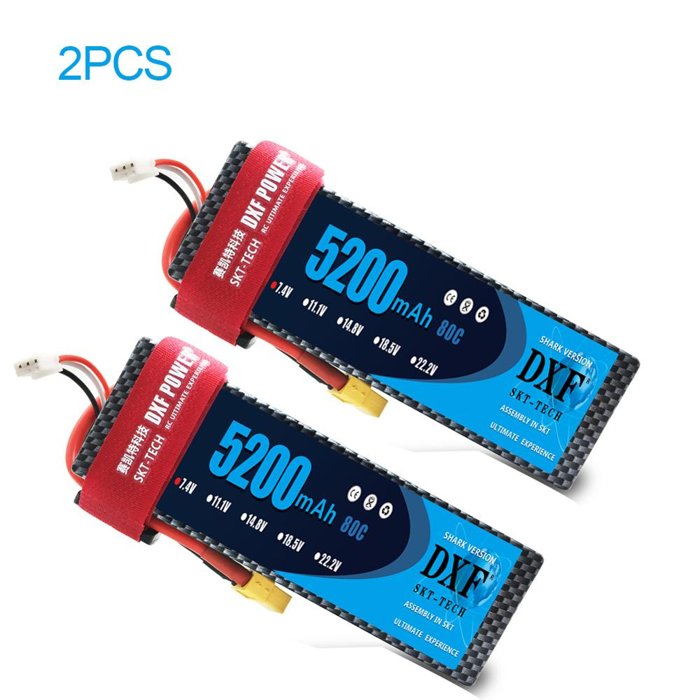 Image 2 - 2pcs DXF 7.4V 5200mah 6500mah Lipo Battery Hardcase 2S 50C 60C 80C 1/10 1/8 Scale For TRX Slash 4x4 RC Cars Hard Case-in Parts & Accessories from Toys & Hobbies