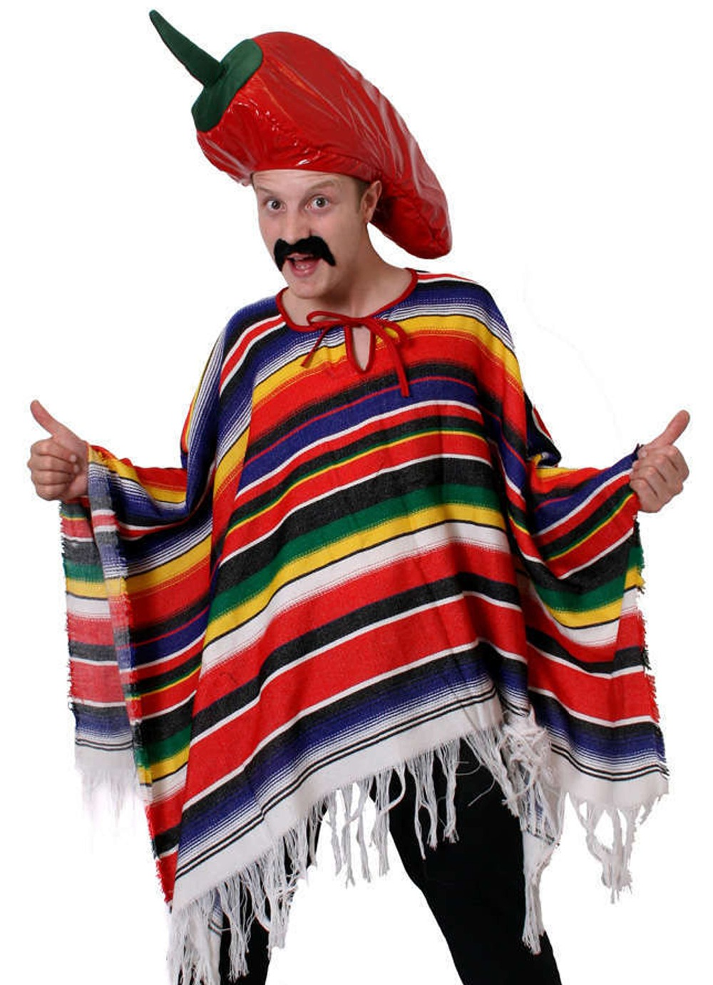 MEXICAN MAN CHILL HAT COSTUME MULTI-COLOURED STRIPED PONCHO MEXICO PARTY WILD WESTERN BANDIT FANCY DRESS WEST OUTFIT ONE SIZE