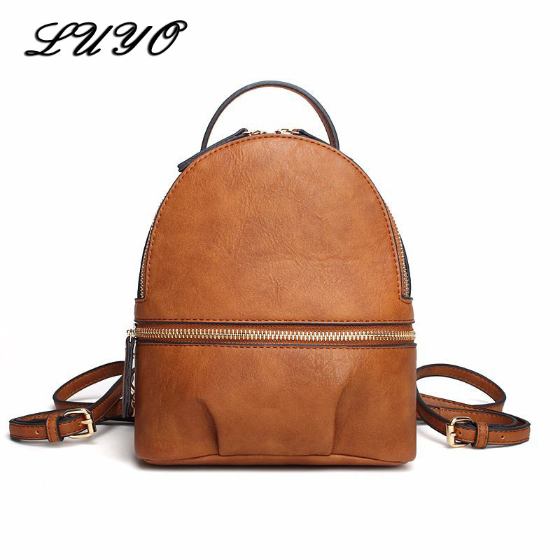 LUYO Fashion Leather Small Backpack Female Women Bags Backpacks For Teenagers Bagpack Rugzak School Travel Back Pack Sac A Dos dida bear brand women pu leather backpacks female school bags for girls teenagers small backpack rucksack mochilas sac a dos