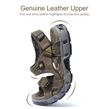 CAMEL Men\'s Sandals Summer Cowhide Leather Open Toe Casual Strap Fisherman Sandal Outdoor Hiking Walking Beach Shoes Men