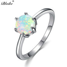 Blaike 7MM Round White Blue Rainbow Fire Opal Stone Rings For Women 925  Sterling Silver Filled Mystic AAA Zircon Birthstone Ring 0d4c452aa334