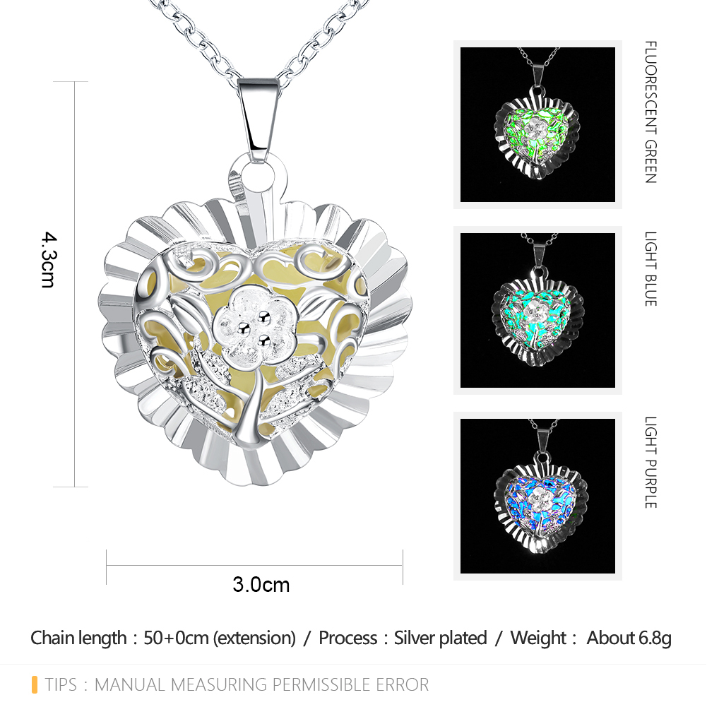 Lureme New Steampunk Glow in the Dark Luminous Hollow Heart Flower Necklace for Women Silver Palted Jewelry Wholesale (01003874)