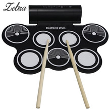 Hot Portable Roll Up Electronic Drums Pad Kit USB MIDI Machine Built in Speakers Percussion Instruments