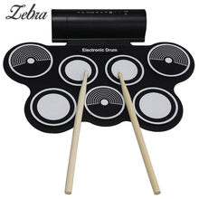 Hot Portable Roll Up Electronic Drums Pad Kit USB MIDI Machine Built-in Speakers Percussion Instruments with Stick Drumstick(China)