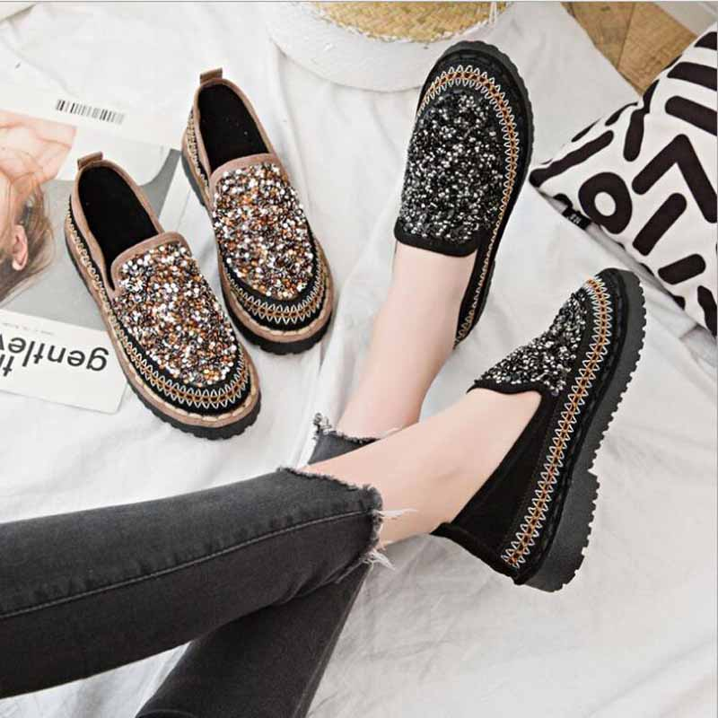 Autumn women flats shoes platform sneakers shoes   leather     suede   casual shoes slip on flats heels creepers moccasins