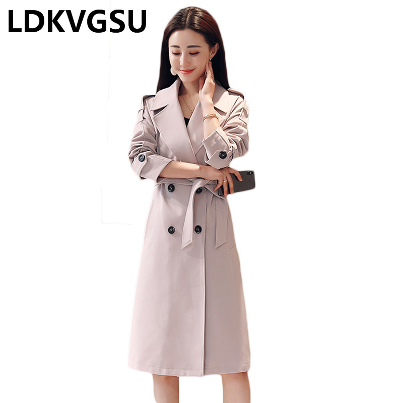 Women Double Breasted Solid Color Long   Trench   Coat 2018 New Spring Autumn Slim Belt Windbreaker Female Large Size 4XL Is443