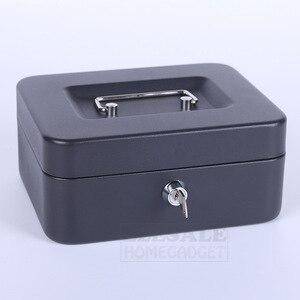 Image 3 - Caja fuerte para joyas portátil de 6 8 10 pulgadas, de alta calidad, con 2 llaves y bandeja, caja de seguridad de acero duradero con cerradura