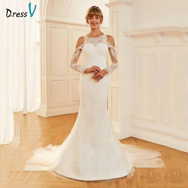 Trumpet Wedding Gowns With Sleeves: Aliexpress.com : Buy Dressv Ivory Elegant Long Sleeves