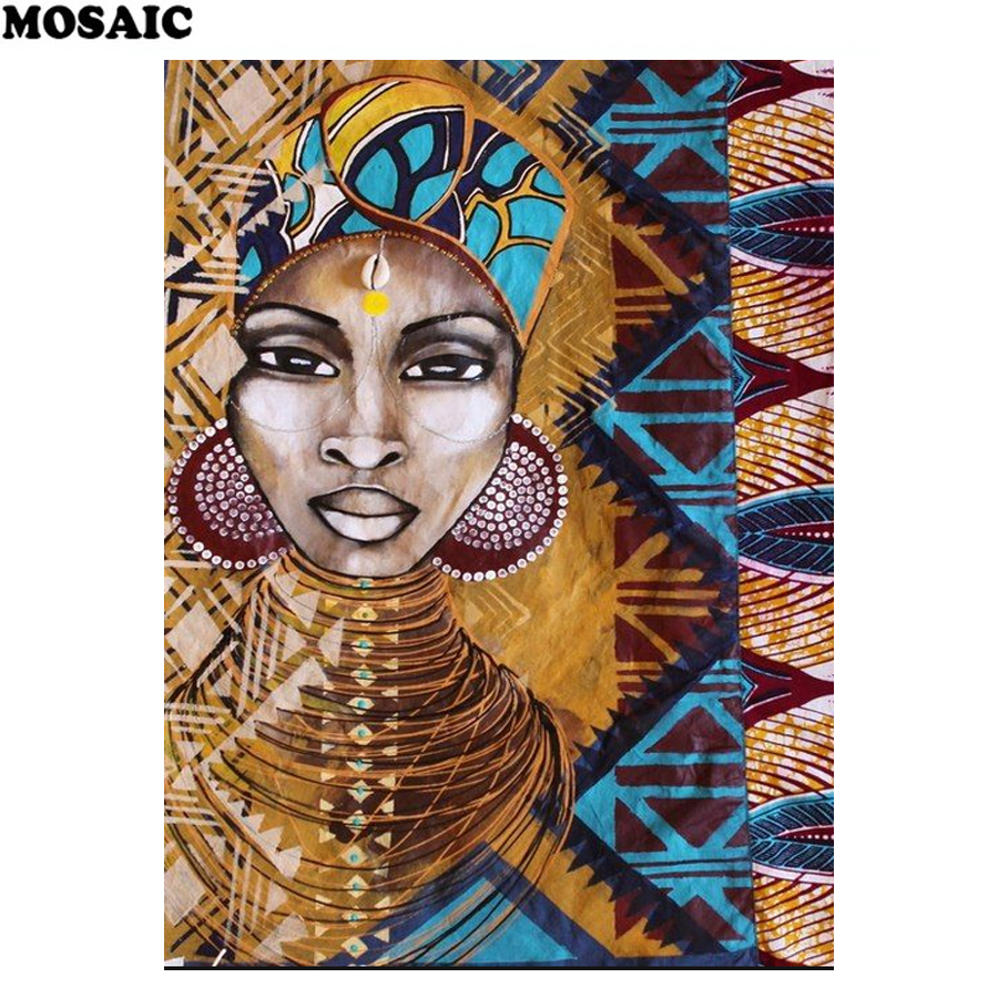African art,5D Diy Daimond Painting woman,Cross-stitch 3D Diamond Mosaic Full square Rhinestones Paintings Embroidery