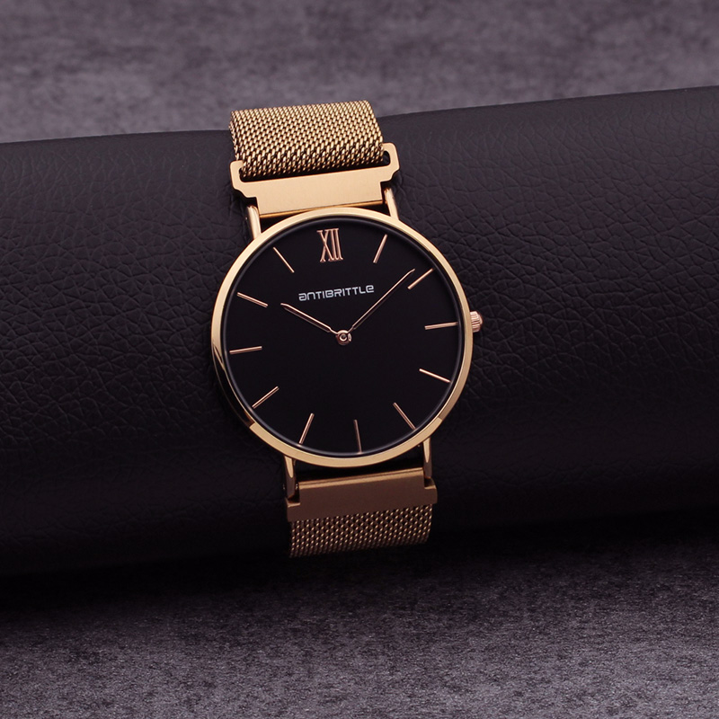 Japan Quartz Luxury Black Dial Watch Women Rose Gold Roman Mesh Ultra Thin Stainless Steel Magnet Band Waterproof Antibrittle top luxury brand quartz watch women simple dress casual japan rose gold stainless steel mesh band ultra thin clock female unisex