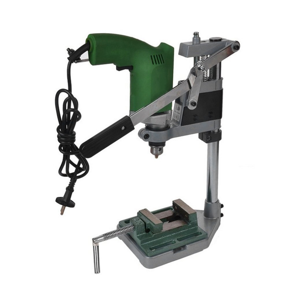 Quality Aluminum Bench Drill Stand Double Clamp Base Frame Drill Holder Electric Drill Stand Power Rotary Tools Storage New Hot free shipping drill stand press holder for 42mm electric drill machine tools workbench stand dill holder