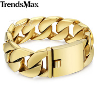 Trendsmax Custom Mens Bracelet Hiphop Heavy Thick Gold Color Round Curb Chain 316L Stainless Steel Bracelet 24mm Wide HB321