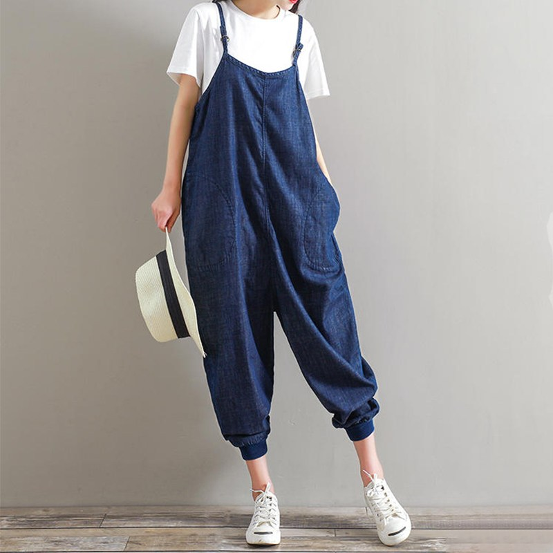 Cotton Overalls 2019 Rompers Womens   Jumpsuit   Casual Loose Herem Sleeveless Backless Pockets Playsuits Oversized Bottoms Pants